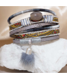 POPOS GRAY SILVER double wrap bracelet in silver with fur pompom and gray agate stone and magnetic clasp