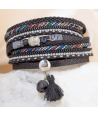 NIRVANA BLACK SILVER double tour black and silver bracelet with Buddha charm and tassel and magnetic clasp