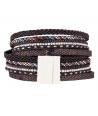 Bracelet NIRVANA BLACK SILVER double tour noir et argent breloque bouddha et pompon et fermoir aimanté