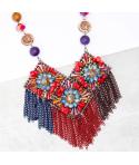 Collier FLORINA CORAL BLUE SILVER plastron ras de cou argent et multicolore bleu et rouge corail pierres et cristaux
