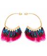 Boucles d'oreilles FEROZA COLOR GOLD créoles ethniques dorées et multicolores et plumes