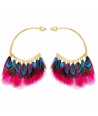 FEROZA COLOR GOLD ethnic golden and multicolored hoop earrings and feathers