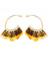 Boucles d'oreilles FEROZA MOSTAZA GOLD créoles ethniques dorées et plumes jaune moutarde