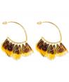 FEROZA MOSTAZA GOLD earrings ethnic golden hoops and mustard yellow feathers