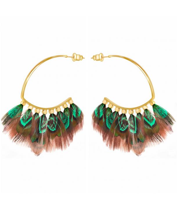 Boucles d'oreilles FEROZA VERDE GOLD créoles ethniques dorées et plumes vert émeraude