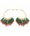 FEROZA VERDE GOLD earrings ethnic golden hoops and emerald green feathers