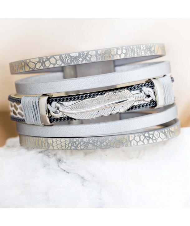 Bracelet ESSOURIO GREY SILVER manchette simili-cuir argent et gris fermoir aimanté