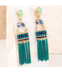 Boucles d'oreilles BALTO VERDE GOLD pendantes chainettes vert émeraude et dorées cristal