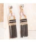 Boucles d'oreilles BALTO BLACK GOLD pendantes chainettes noires et dorées cristal