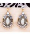Boucles d'oreilles TOTEM GOLD & SILVER pendantes ethniques bicolores argentées et dorées cristal