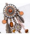 Boucles d'oreilles SOLACE CAMEL GOLD pendantes ethniques ajourées solaires camel et dorées cristal et pompon