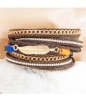 Bracelet APAK DOBLE CHOCO GOLD double tour doré et marron chocolat plume et fermoir aimanté